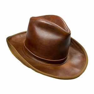 VTG Henschel Skullys Dark Brown Leather Cowboy Hat